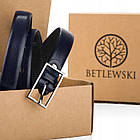 Шкіряний жіночий ремінь Betlewski® 2 х 0,2 (LIC20-2-SR) - синій, фото 4