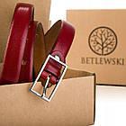 Шкіряний жіночий ремінь Betlewski® 2 х 0,2 (LIC20-2-SR)- червоний, фото 6