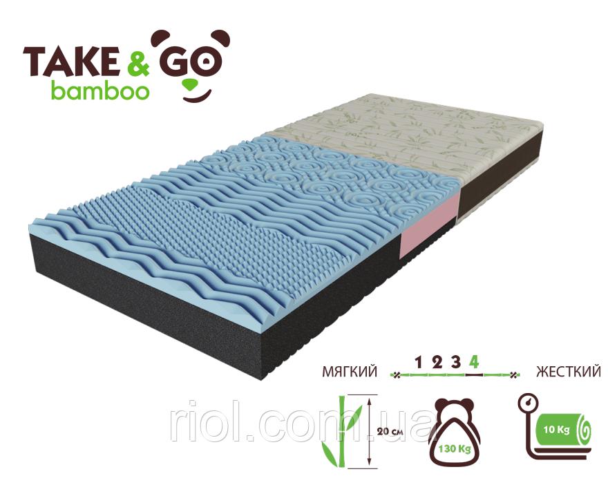 Беспружинный двусторонний матрас NeoBlue / НеоБлю коллекции Take&Go bamboo