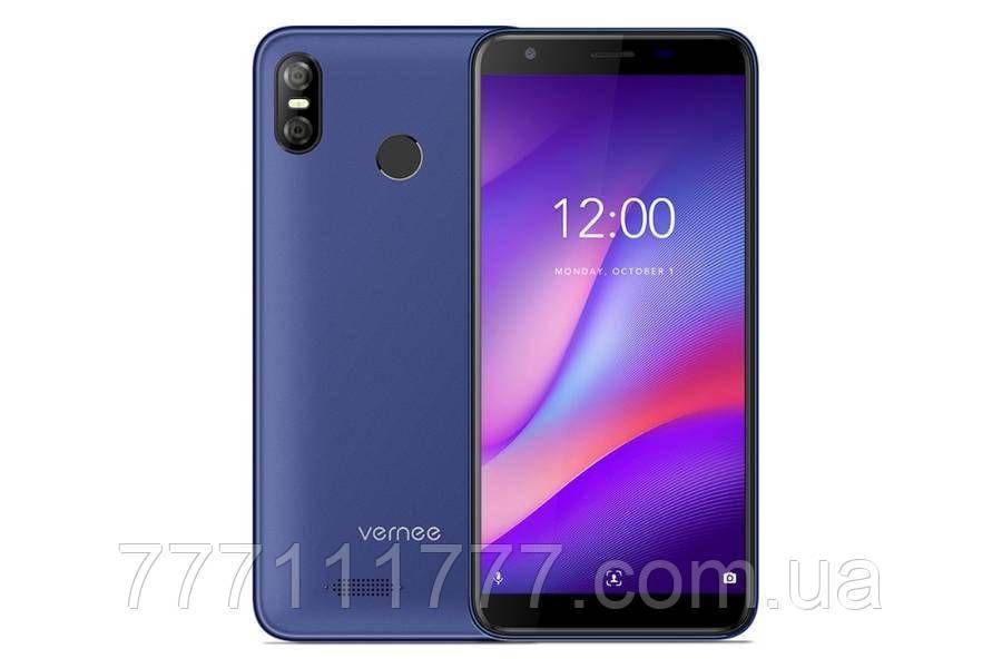 Смартфон синий безрамочный с большим дисплеем и двойной камерой на 2 сим карты Vernee M3 blue3/32Gb