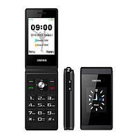 Телефон кнопочный с большим дисплеем, мощной батареей на 2 сим карты Uniwa X28 black