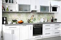 Виниловый кухонный фартук Птицы в саду (наклейка для кухни ПВХ пленка скинали) цветы Зеленый 600*2500 мм