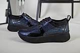 Кроссовки женские кожаные черный с синим, фото 2
