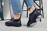 Кроссовки женские кожаные черный с синим, фото 4