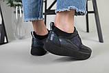 Кроссовки женские кожаные черный с синим, фото 5