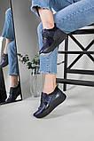 Кроссовки женские кожаные черный с синим, фото 7