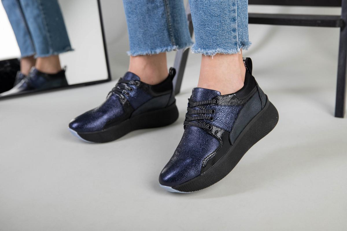 Кроссовки женские кожаные черный с синим