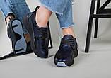 Кроссовки женские кожаные черный с синим, фото 10