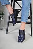 Кроссовки женские кожаные черный с синим, фото 8