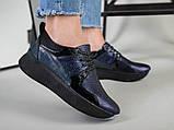 Кроссовки женские кожаные черный с синим, фото 9