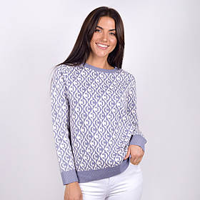 Женский свитер оверсайз с узором с круглой горловиной в 5 цветах в  размере S/M и M/L