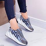 Кросівки жіночі сірі еко-замш + текстиль весна/ осінь підошва 6 см, фото 3