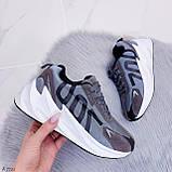 Кросівки жіночі сірі еко-замш + текстиль весна/ осінь підошва 6 см, фото 4