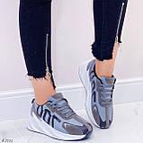 Кросівки жіночі сірі еко-замш + текстиль весна/ осінь підошва 6 см, фото 2