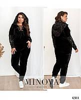 Женский, модный, нарядный велюровый спортивный костюм с пайетками Р- 50, 52, 54, 56, 58, 60 больших размеров