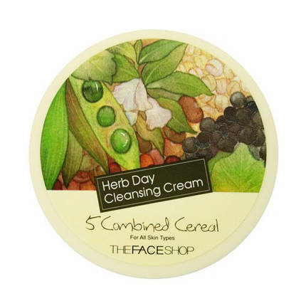 Средство для снятия макияжа The Face Shop Herb Day Cleansing Cream 5 Combined Cereal, 150 мл, фото 2
