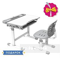 Комплект растущая парта 66х49 см и стул-трансформеры для ребенка 3 - 10 лет ТМ FunDesk Cura Grey