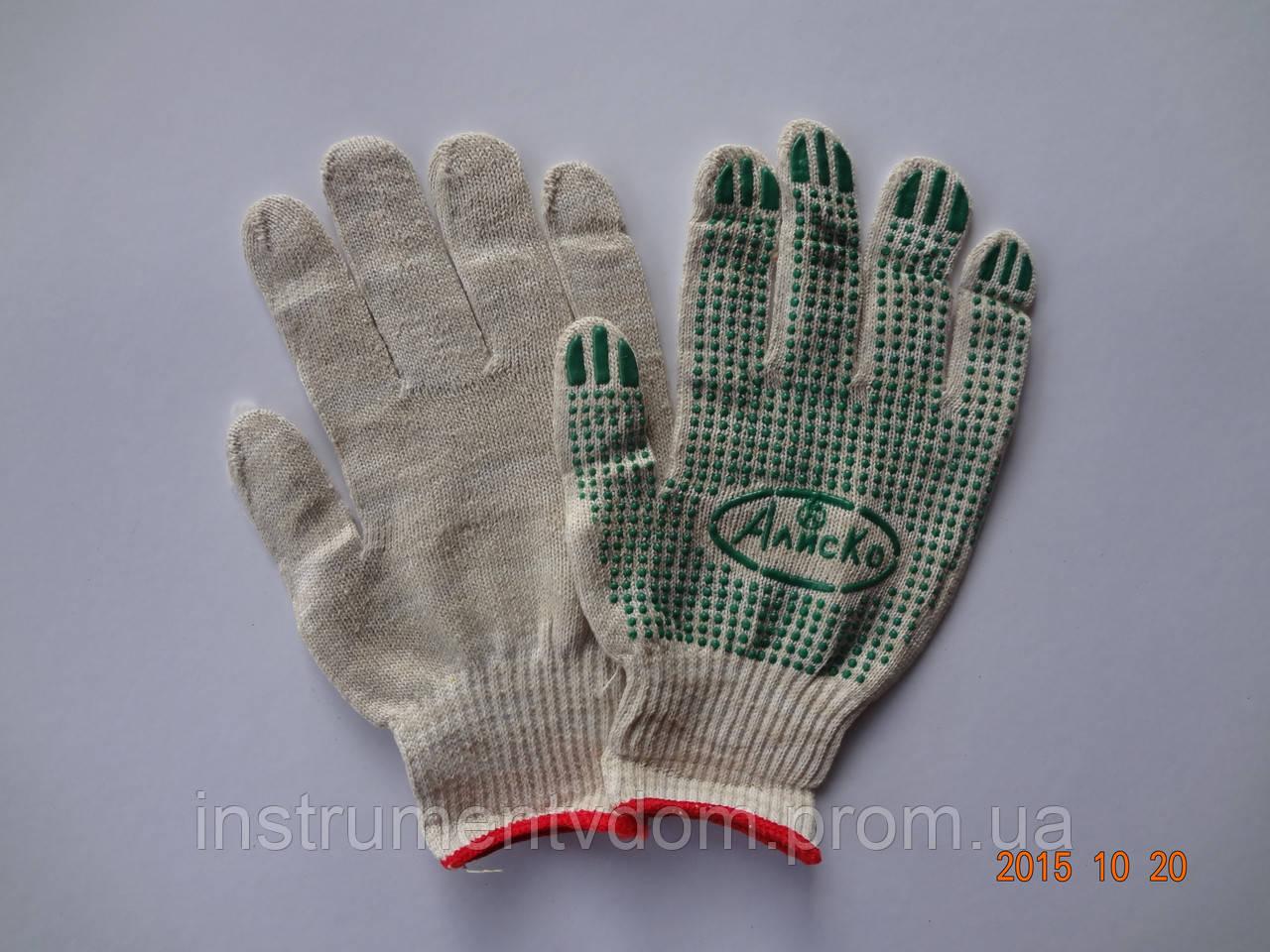"Перчатки белые х/б с ПВХ точкой  ""АлисКо"" (упаковка 10 пар)"