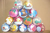 Новогодние шары 8 см 1шт/в уп.пластик,  ручная роспись