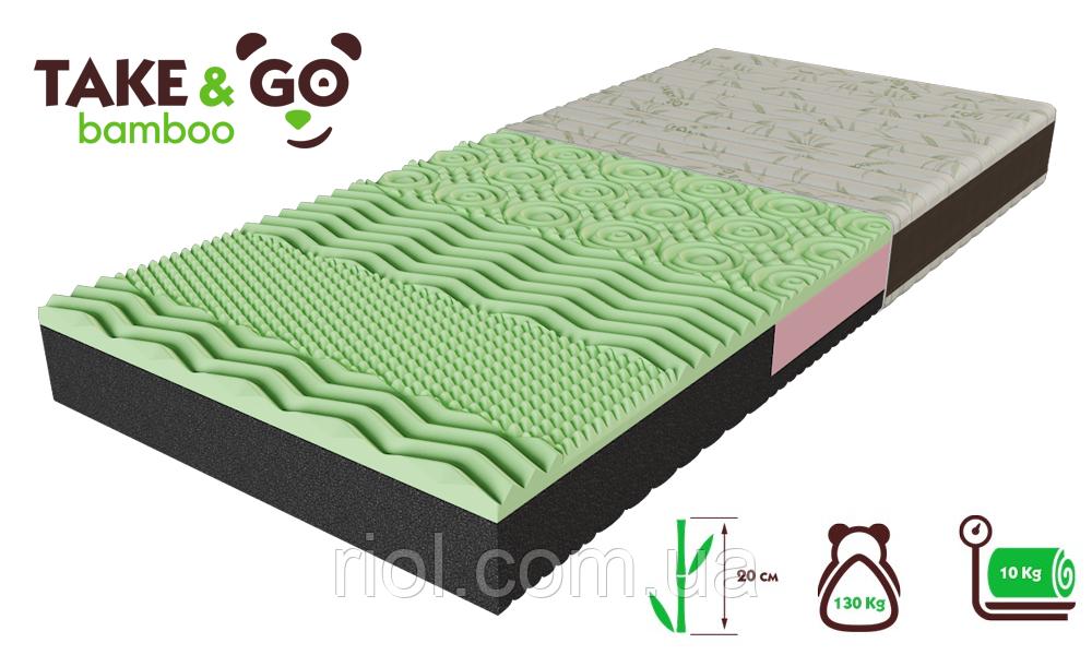 Беспружинный двусторонний матрас NeoGreen / НеоГрин коллекции  Take&Go Bamboo