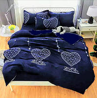 """Комплект постельного белья """"Синие сердце 3Д"""" - Евро"""