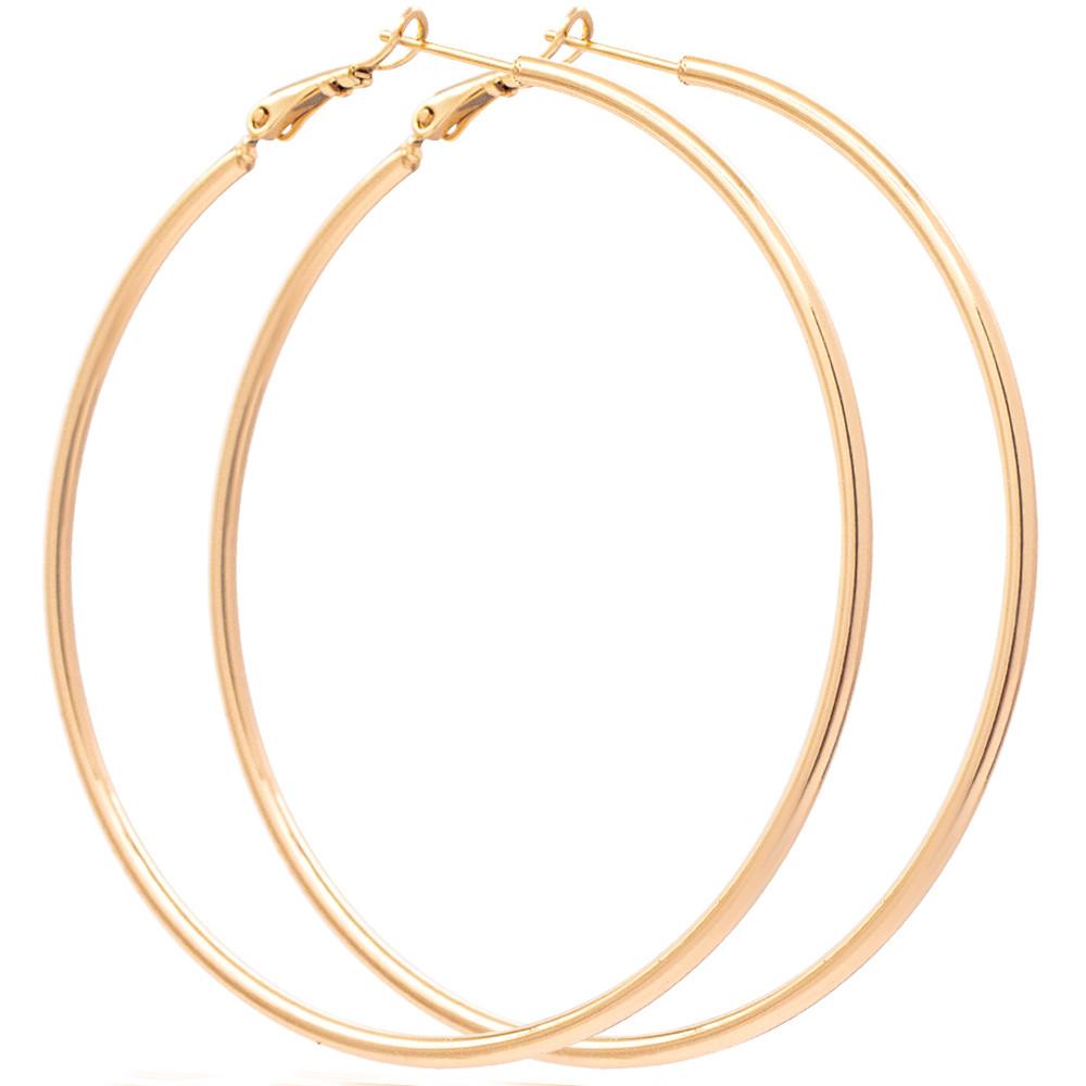 Серьги-кольца лимонная позолота 6,5 см (Медицинское золото)