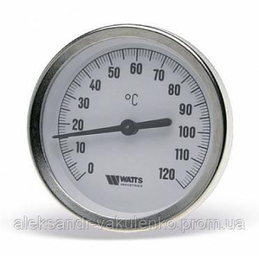 Термометр Watts 63/50 0-120 С, аксиальный, с погружной гильзой
