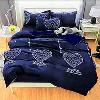 """Комплект постельного белья """"Синие сердце 3Д"""" - Семейный"""