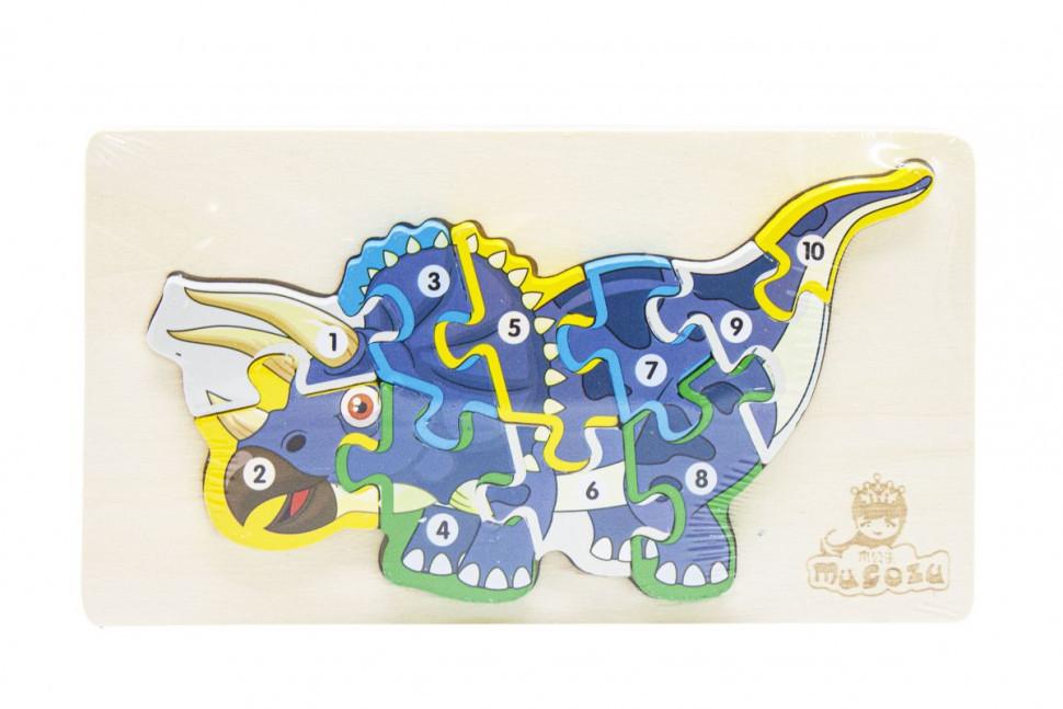Деревянная игрушка Пазлы динозавры, с нумерацией MD 2507 (Трицератопс MD 2507-3)