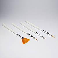 Кисти для вензелей и разного дизайна ногтей, набор 4 шт