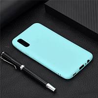 Чехол Soft Touch для Vivo Y1S силикон бампер мятно-голубой