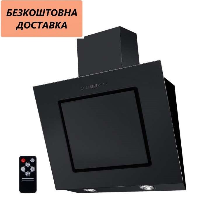 Кухонная вытяжка Ventolux TREVI 60 BK (1000) TC IT Наклонная, Черная, Стекло