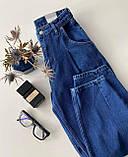 Свободные женские джинсы Slouchy с высокой талией джинсы слоучи синие, фото 4