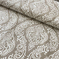 Ткань декоративная с тефлоновой пропиткой Дамаск на бежевом, ширина 180 см, фото 1