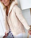 Женская куртка, лаковая плащёвка + синтепон 150, р-р 42-44; 44-46; 46-48; 48-50 (молочный), фото 2