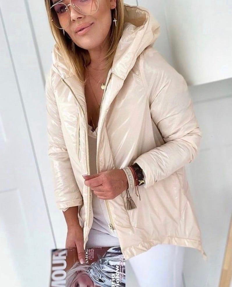 Женская куртка, лаковая плащёвка + синтепон 150, р-р 42-44; 44-46; 46-48; 48-50 (молочный)