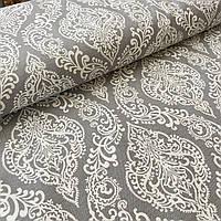 Ткань декоративная с тефлоновой пропиткой Дамаск на сером, ширина 180 см, фото 1