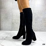 Только 38 р! Женские черные сапоги ДЕМИ на каблуке 8 см эко- замш, фото 3