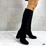 Только 38 р! Женские черные сапоги ДЕМИ на каблуке 8 см эко- замш, фото 5