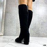 Только 38 р! Женские черные сапоги ДЕМИ на каблуке 8 см эко- замш, фото 2