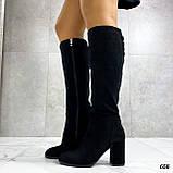 Только 38 р! Женские черные сапоги ДЕМИ на каблуке 8 см эко- замш, фото 7