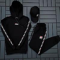 Fila мужской черный спортивный костюм с капюшоном осень.Комплектом дешевле! 2 кофты+штаны+ кепка + футболка)