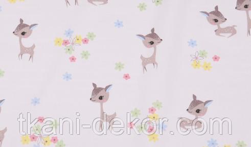 Сатин (хлопковая ткань)  оленята и цветы