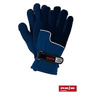 Перчатки сине-голубые защитные утепленные флисовые REIS, Польша (упаковка 12 пар)