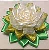 Магнит Белая Роза с золотом
