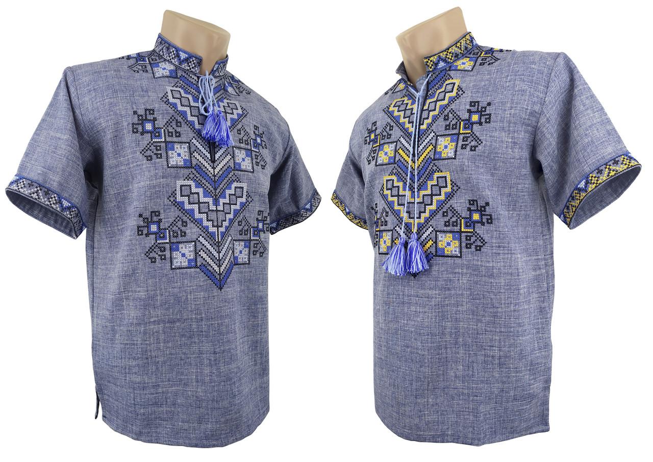 Мужская вышиванка с коротким рукавом в джинсовом цвете «Дерево жизни»