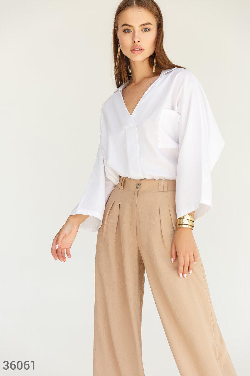 Бавовняна блуза з широким рукавом