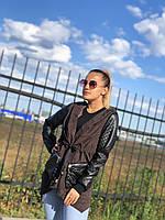 """Кардиган женский с кожаными вставками,(2цв.) р-ры S-L """"COCO"""" купить недорого от прямого поставщика, фото 1"""