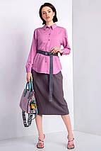 Прямая трикотажная юбка с мелкой плиссировкой и мягким поясом длиной чуть ниже колена, фото 3