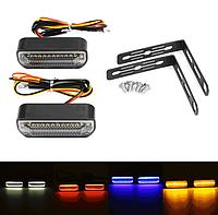 Світлодіодні повороти мото бігаючі \ Покажчики повороту + стоп, габарит 12В, LED, фото 1